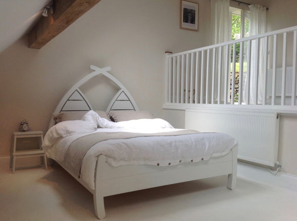 Modern wooden bed white planked curved headboard
