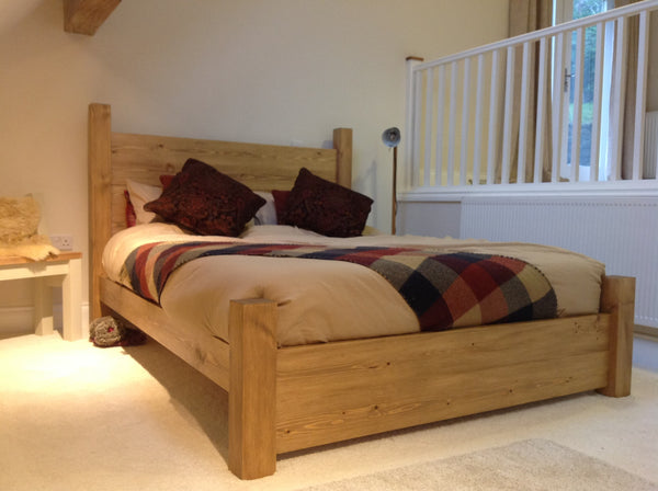 Rustic pine plank bed