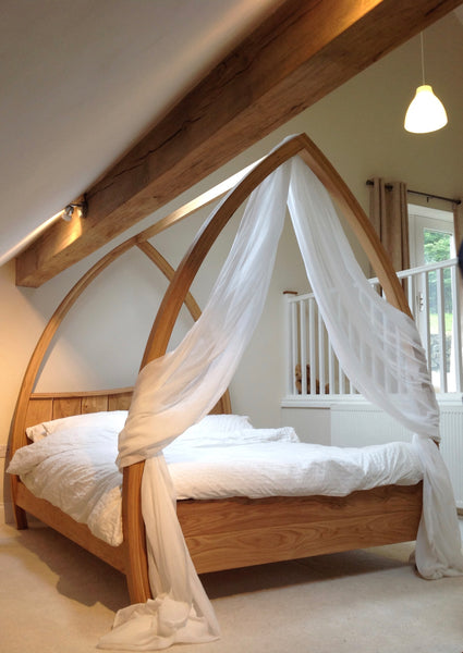 Oak Four Poster Bed With Drapes