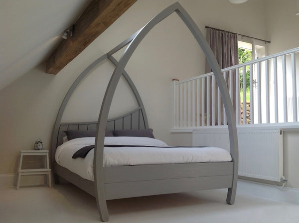 Wooden four poster bed painted grey