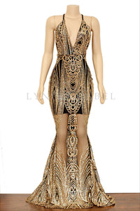 The MONROE Black/Gold Gown