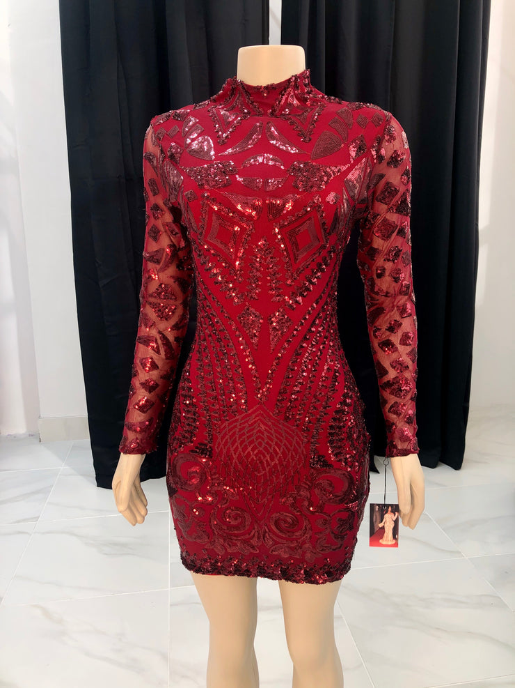 Burgundy Sequin Mock Dress