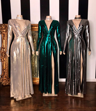 The MARIAH Metallic Gown (3706733002836)