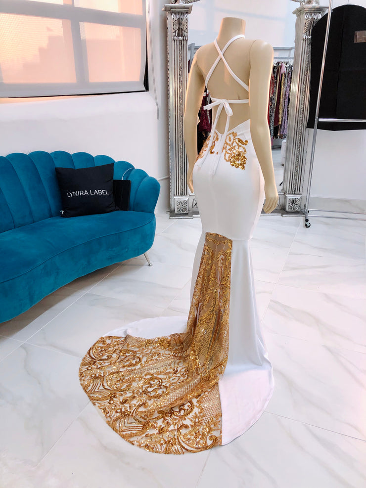 Sample : White/Gold Sequins Gown (4394499702868)