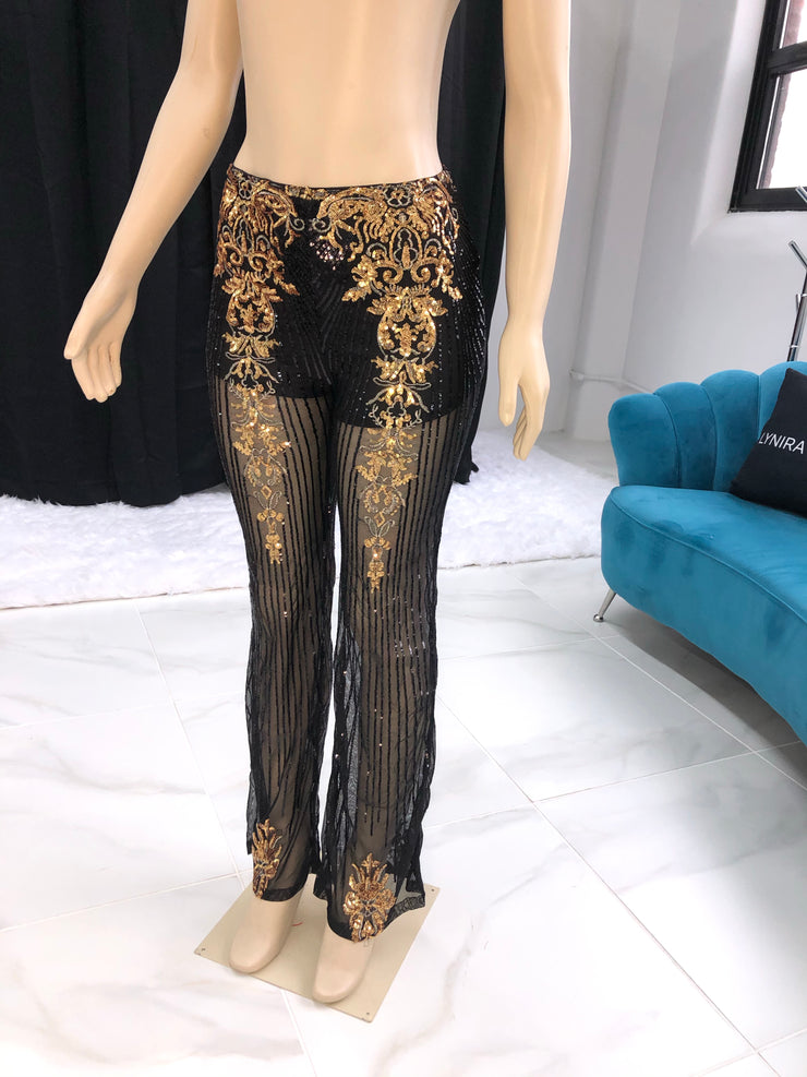 Black gold sequins pants