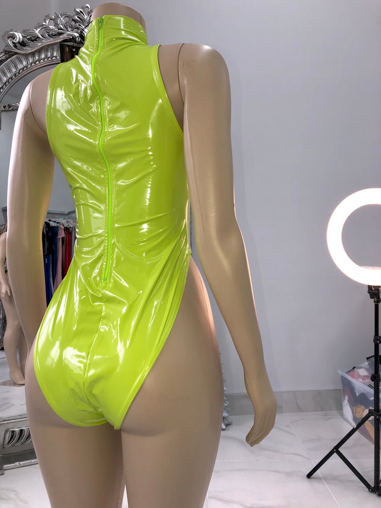 Lime shiny vinyl bodysuit