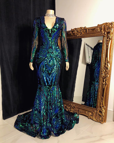 The JANAYA Sequins Gown (with sleeves)