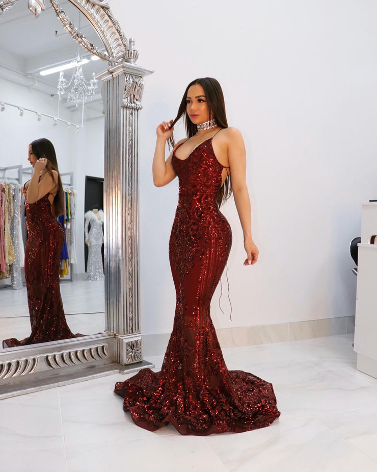 The MICHELLE Burgundy Gown