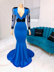 Sample : Royal Blue Lace Spandex Gown (4389810765908)