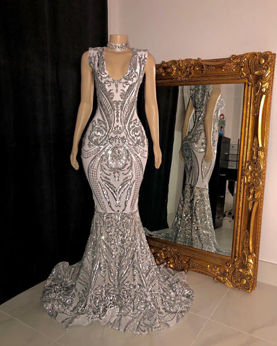 The JANAYA White/Silver Gown