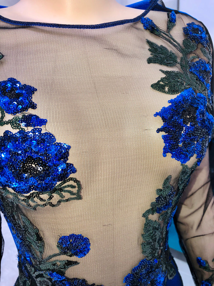 Sample : Royal Blue Floral Sequins Gown (4389818564692)