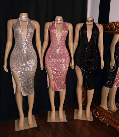 The SOPHIA Sequin Halter Dress