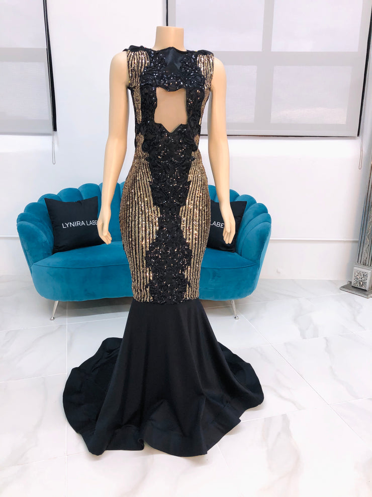 Sample : Black and Gold Sequins Gown (4389796905044)