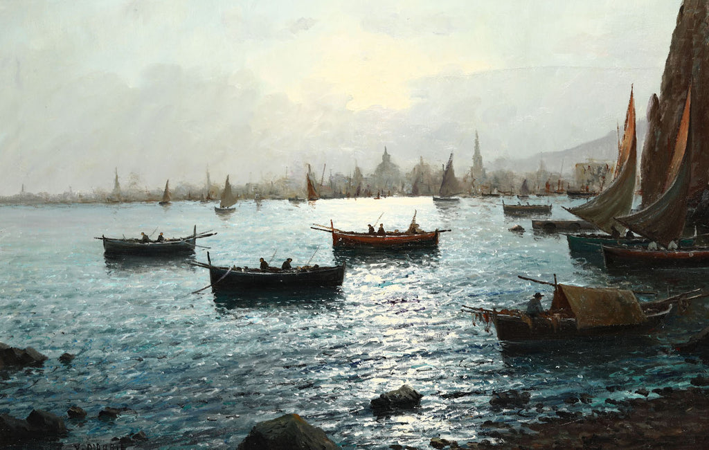 Oil Painting, Italian School, Harbour Scene with City in background (Early 20th c)