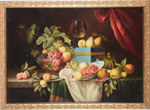 Antique still life oil painting of autumn fruits and wine on a table