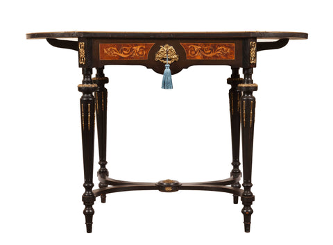 Pretty Inlaid French Occasional Antique Table with drop leaves