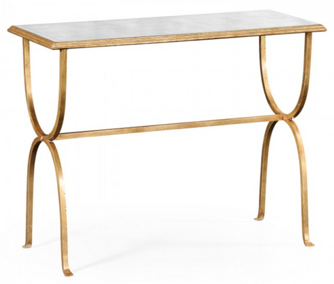 Églomisé and Gilded Iron Horseshoe Console Hall Table