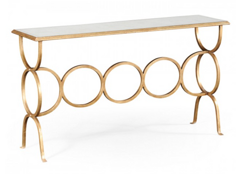 Églomisé and Gilded Iron Circles Console Hall Table