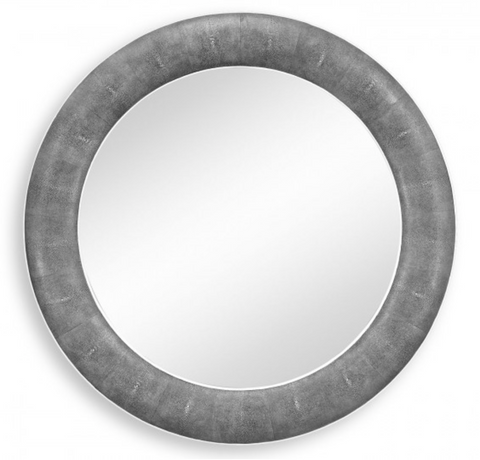 Anthracite Faux Shagreen Circular Wall Mirror
