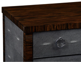 Faux Macassar Ebony & Anthracite Shagreen Double Chest of Drawers