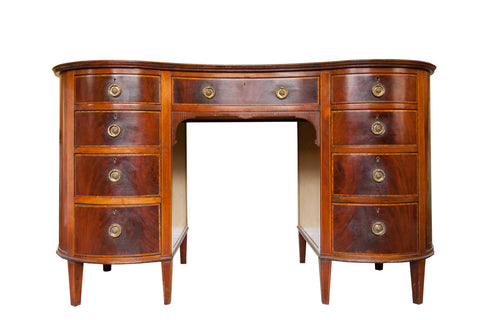 Sold - Mahogany Rosewood banded Kidney shaped desk or Dressing Table (England, 1890). SALE PRICE: