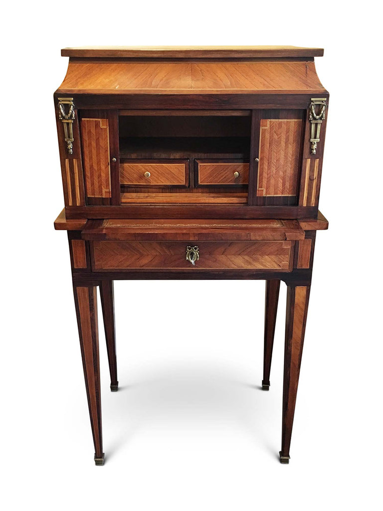 Late 19th Century French Bonheur De Jour with Parquetry Rosewood inlay. (France, c. 1890)