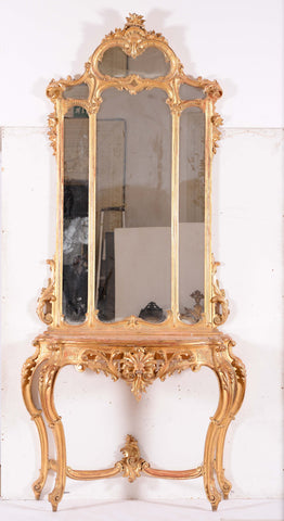 ON SALE - Large 19th Century Italian Giltwood Console Table with Mirror. SALE PRICE:
