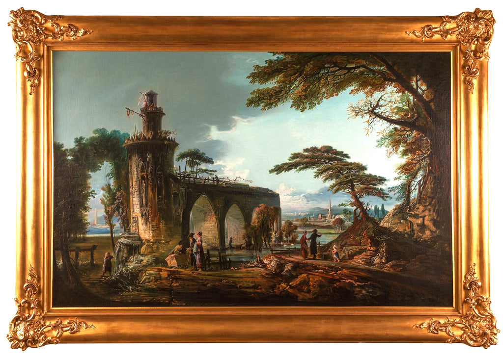 Oil on Canvas; Italian Landscape in the style of Claude Lorraine (1600-1682)