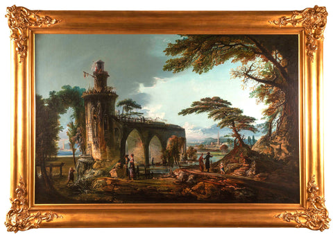 Oil on Canvas; Italian Landscape in the style of Claude Lorraine (1600-1682). SALE PRICE: