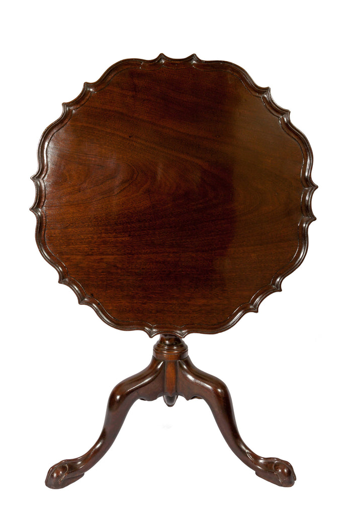 antique tilt top mahogany piecrust table tripod base