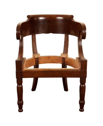 Antique French Mahogany Louis Phillipe Armchair or Desk Chair