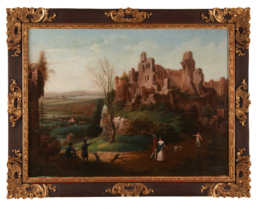 Oil on board Castle in Landscape by Johann Dittman