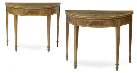 x SOLD : Pair of Antique Georgian Demi Lune Card Tables