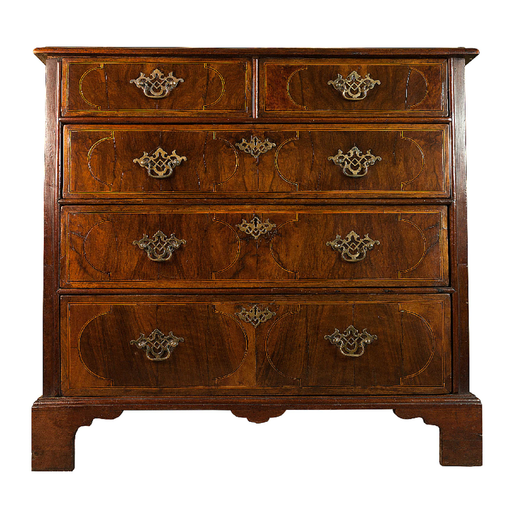 antique chest of drawers in walnut