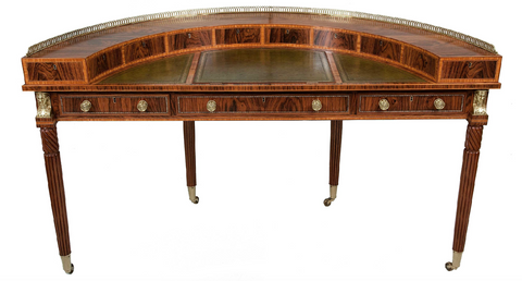 x SOLD : Empire Style Coromandel Demi-Lune Writing Table