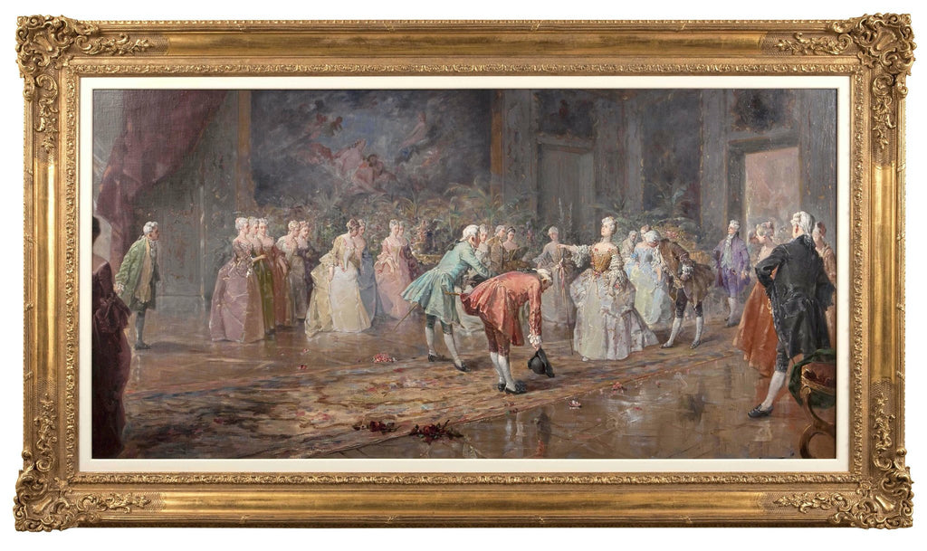 elegant fine art oil painting of figures arriving to the ballroom