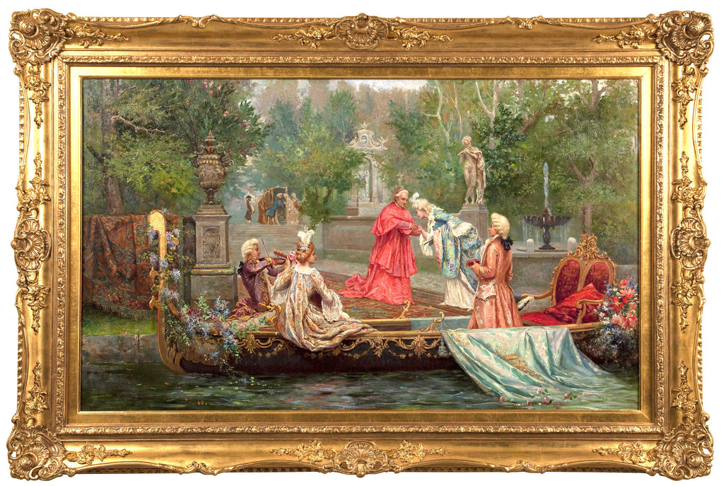 classical antique Italian scene with figures arriving on a gondola
