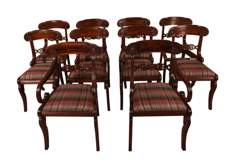 set of ten antique mahogany dining chairs