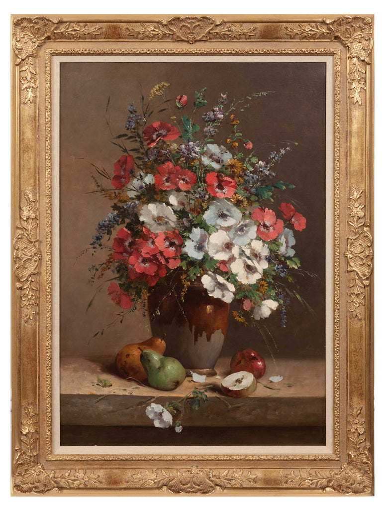 Antique still life oil painting of beautiful flowers in a vase with autumn fruits