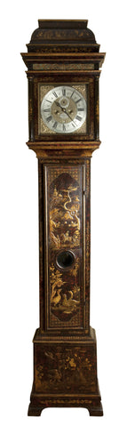 beautiful georgian long case clock with chinoiserie decoration