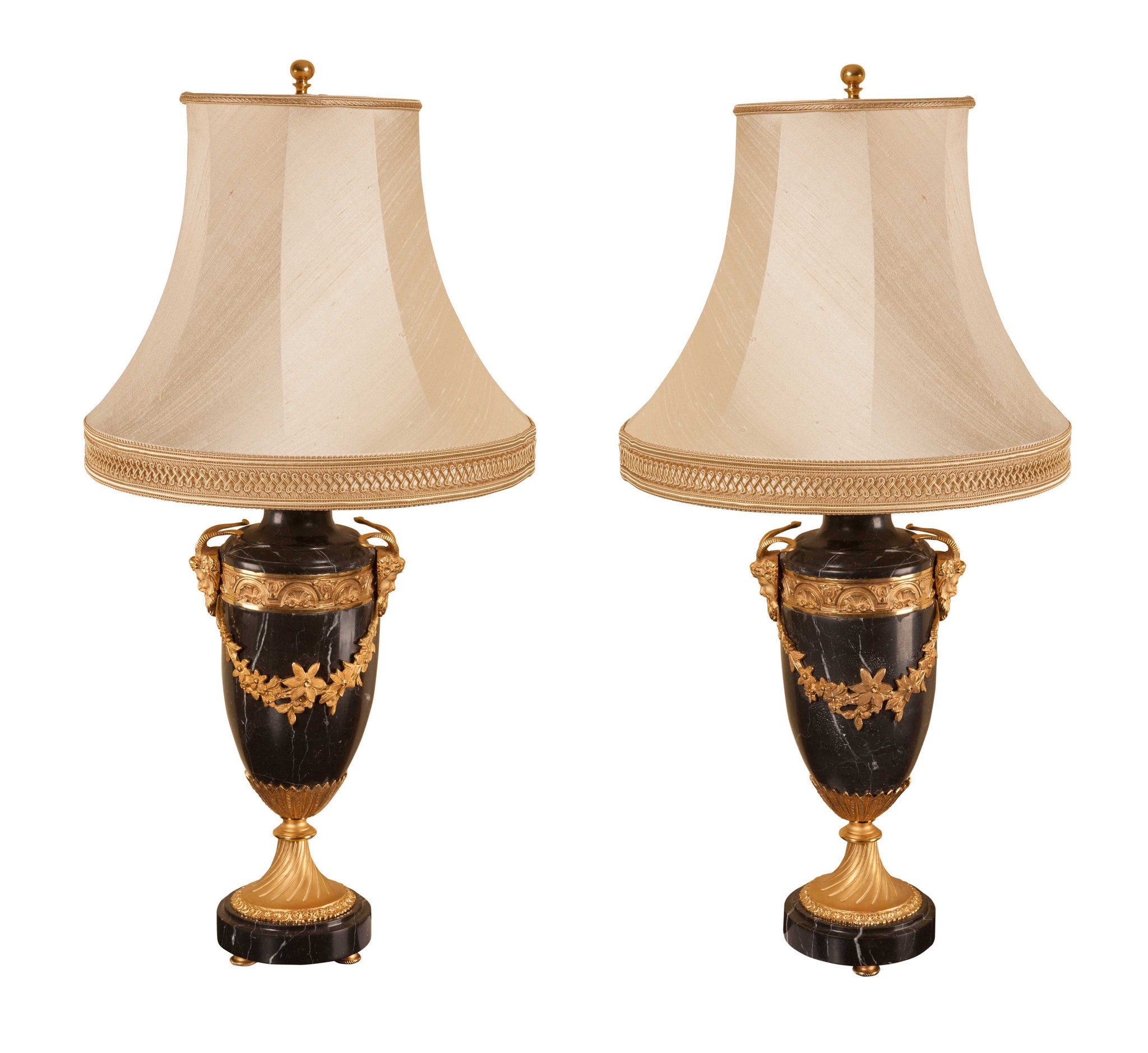 Pair Of Black Marble Table Lamps With Silk Shades