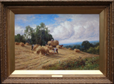 Antique Original Oil Painting by British artist Henry H Parker 'Harvest'