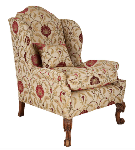 x SOLD : High Wing Back Upholstered Arm Chair by Howard & Sons