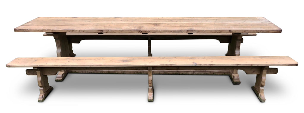 Refectory Table & Benches, 'Mouseman' design in washed Oak.