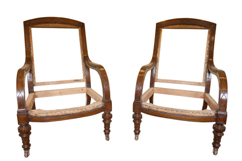ON SALE - Pair of Low Oak 19th Century Gillows Style Armchairs. (England, 1890). SALE PRICE:
