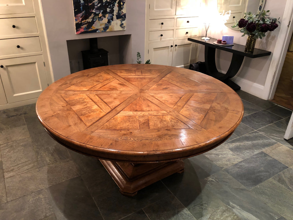 Circular Dining Table Handmade Oak & Burr Oak segmented
