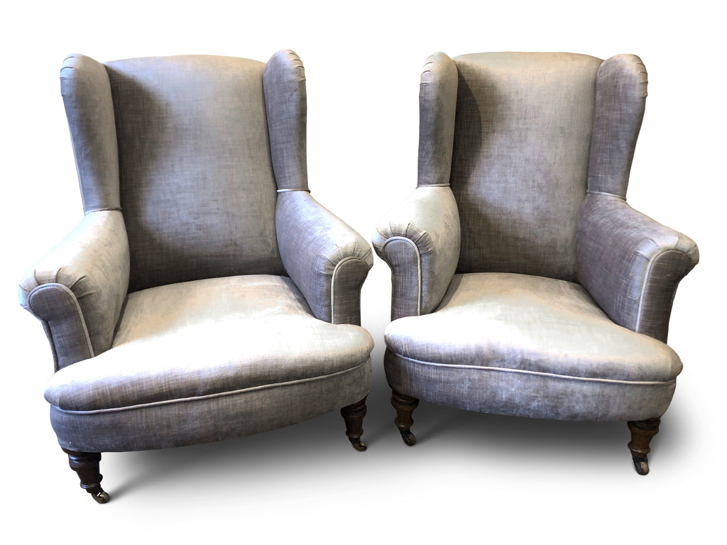 ON SALE - Fine Pair of Low Wingback Armchairs (England, c. 1920). SALE PRICE: