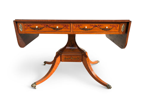 George III Painted Satinwood Sofa Table (England, c. 1780)
