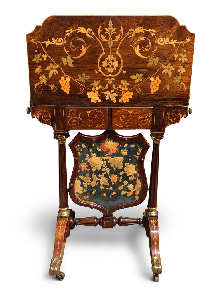 Card Table and Fire Screen Rosewood with Floral Inlay, Exhibition Quality
