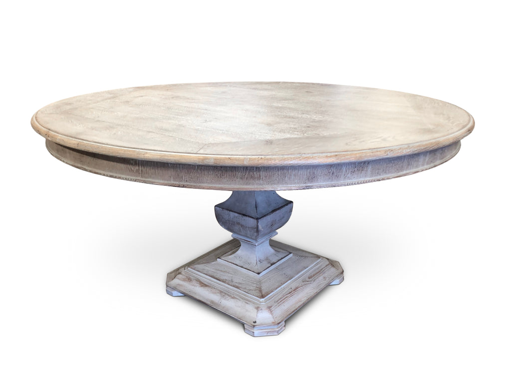 Circular Dining Table in rustic grey finish.